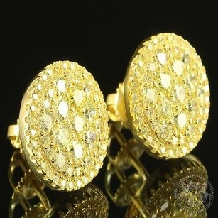 Canary Lab Diamond Special Sale Casual Wear Sterling Silver Gold Finish Earrings