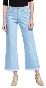 Other Objects Without Meaning Light Pale Blue Mid Rise Wide Leg Cropped Frayed Capri/Cropped Denim