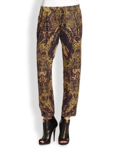 Other Haute Hippie Silk Trousers With Drawstring In Multi Capri/Cropped Pants brown gold kahki