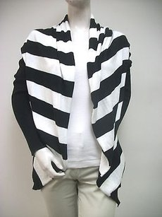 Other Vintageous Black White Wide Stripe Open Draped Cardigan Sweater