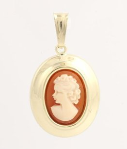 Carved Shell Cameo Pendant - 14k Yellow Gold Polished Oval Womens Fine Estate