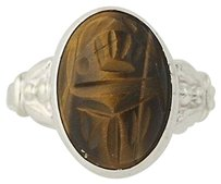 Other Carved Tigers Eye Scarab Ring - Sterling Silver Egyptian Style Oval