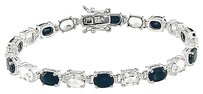 Other Sterling Silver Black Sapphire White Topaz Link Bracelet 7.25 19 Ct