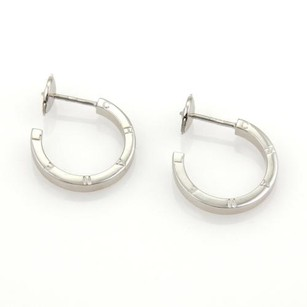 Chanel 18k White Gold Signature Logo Hoop Earrings