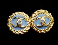 Other Chanel Blue Enamel Cc Logo Gold Tone Metal Medallion Coin Clip Costume Earrings