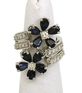 Other Charming 14k White Gold 4ctw Diamond Blue Sapphire Floral Bypass Design Ring