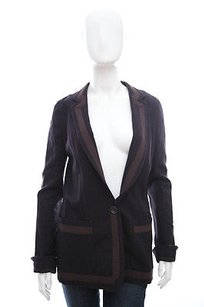 Chris Benz Black Wool Dark Brown V Neck Collar Long Blazer Suit Jacket Coat 6m