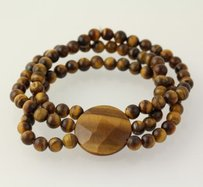 Other Chunky Beaded Bracelet - Brown Tiger Eye Stone Beads Stretch 3-strand Band