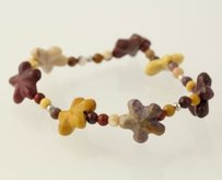 Other Chunky Beaded Flower Bracelet - Mookaite Stones Sterling Silver Stretch Band