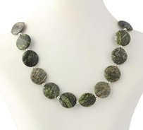 Chunky Beaded Necklace - Green Gray Jasper Stone Sterling Silver Beads