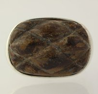 Other Chunky Brown Jasper Ring - Sterling Silver Statement Etched Stone