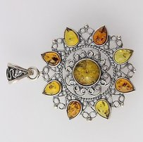 Other Chunky Floral Amber Pendant - Sterling Silver 925 Ornate Yellow Orange Gemstones