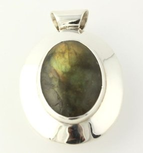 Chunky Labradorite Pendant - Sterling Silver 925 Oval Statement Marbled Stone