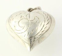 Other Chunky Puffy Heart Pendant - Sterling Silver 925 Scroll Work Pattern 3d Womens