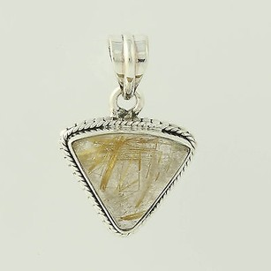 Other Chunky Rutilated Quartz Pendant - Sterling Silver Statement Womens