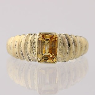 Other Citrine Solitaire Ring - Sterling Silver Womens Emerald Cut 1ct