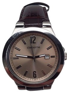 Claiborne Clm1022 Mens Leather Band Silver Dial Date Watch