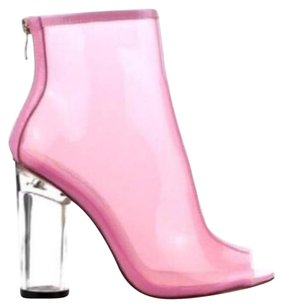 Clear Heel Pink Jelly Boots