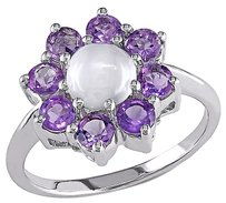 Other Sterling Silver 2 Ct Tgw Moonstone Amethyst Fashion Flower Nature Clusterring