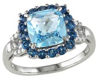 Other Sterling Silver Diamond And 3.6 Ct Sky Blue Topaz - London Fashion Ring Gh I2i3