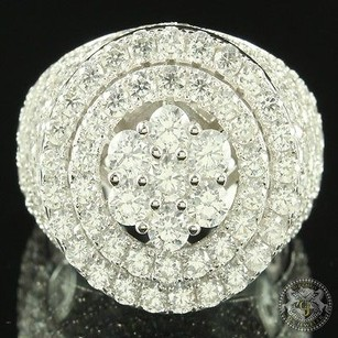 Other Cluster Style Women Iced Out 360 Lab Diamond Signet Style Cocktail Ring Silver
