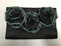Tulu Green Leather Black Clutch