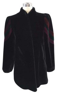 Other Sasson Borgazia Vintage Velvet Red Green Detail Coat Black Jacket