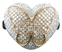 White Gold Finish Ladies 2 Tone Diamond Butterfly Ring