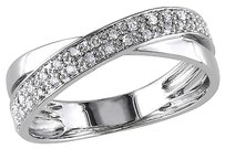 Sterling Silver 16 Ct Diamond Tw Fashion Engagement Twist Crossover Band Ring