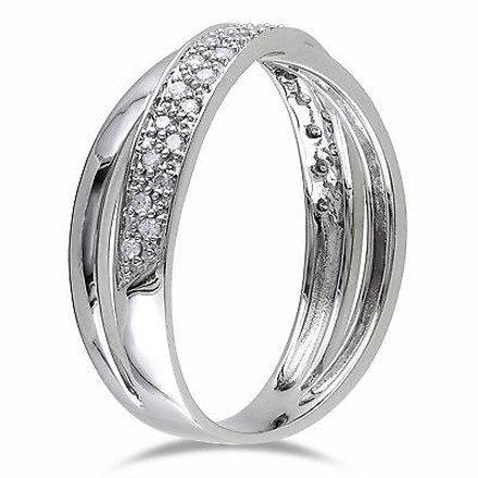 Other Sterling Silver 16 Ct Diamond Tw Fashion Engagement Twist Crossover Band Ring