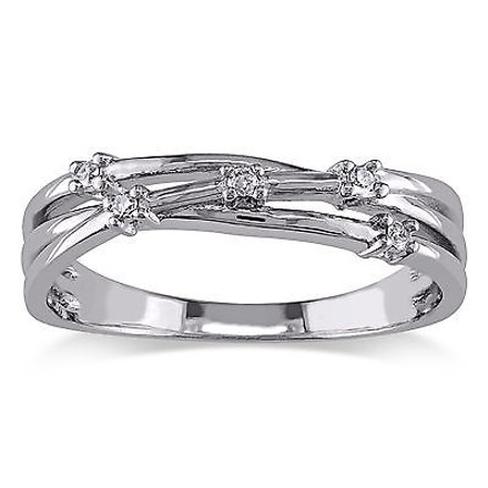 Other Sterling Silver Diamond Fashion Twist Crossover Ring Gh I2i3