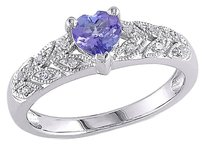 Other Sterling Silver 0.46 Ct Tw Diamond And Tanzanite Heart Love Ring Gh I3