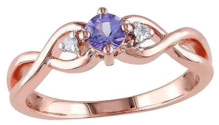 Other 0.29 Ct Tw Diamond And Tanzanite Crossover Fashion Ring Pink Silver Gh I2i3