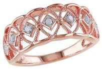Other Sterling Pink Silver 110 Ct Diamond Tw Geometric Fashion Cocktail Ring I3