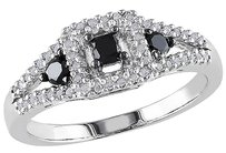 Other Sterling Silver 12 Ct Black White Princess And Round Diamonds Fashion Ring