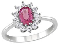 Sterling Silver 1 13 Ct Pink Tourmaline White Sapphire Cluster Fashion Ring