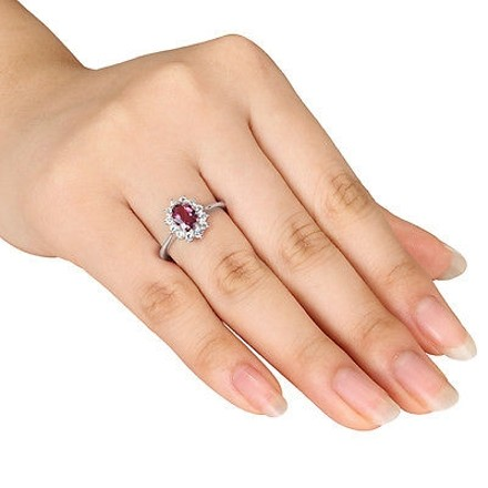 Other Sterling Silver 1 13 Ct Pink Tourmaline White Sapphire Cluster Fashion Ring