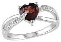 Sterling Silver 1.3 Ct Tw Diamond And Garnet Swivel Crossover Heart Love Ring