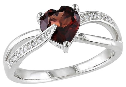 Other Sterling Silver 1.3 Ct Tw Diamond And Garnet Swivel Crossover Heart Love Ring