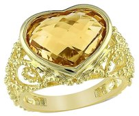 Other Yellow Sterling Silver 5 Ct Citrine Heart Love Fashion Cocktail Ring