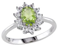 1 13 Ct Tgw Peridot White Sapphire Cluster Fashion Ring In Sterling Silver