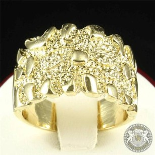 Paved Design 14k Yellow Gold Finish Men Custom Ring Gold Nugget Style Band