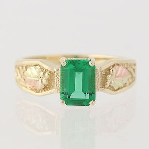 Coleman Black Hills Gold Synthetic Emerald Ring- 10k Gold - 14 Fine 1.80ctw