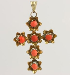 Other Coral Cross Pendant - 10k Yellow Gold Womens Fine Estate Faith Love Gift