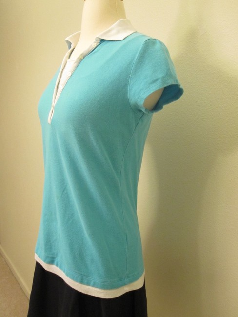 Other Cotton V-neck Polo Short Sleeve Top Sky Blue
