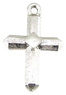 Cross Pendant - 10k White Gold Religious Charm Womens Girls