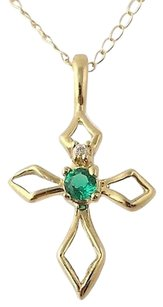 Cross Pendant Chain Necklace - 10k Yellow Gold 18 Emerald Cz 0.13ctw