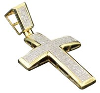 Diamond Dome Cross Pendant Mens .925 Yellow Gold Finish Sterling Silver Charm
