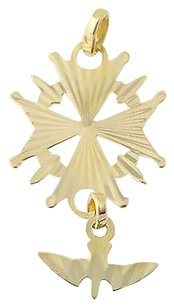 Other Cross With Doves Pendant - 18k Yellow Gold Faith Ribbed