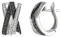 Other Sterling Silver 12 Ct Black White Diamond Ear Pin Two-tone Hoop Earrings